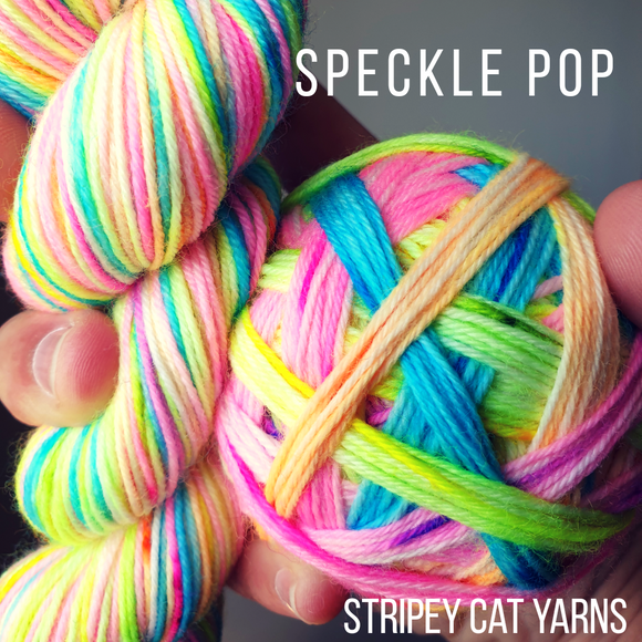 Speckle Pop self striping sock yarn with optional 20g mini skein