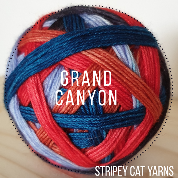 Grand Canyon self striping sock yarn with optional 20g mini skein