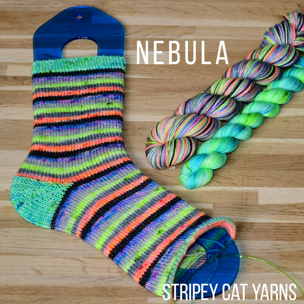 Nebula self striping sock yarn with optional 20g mini skein
