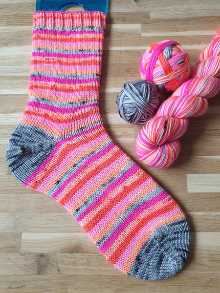 Fabulous Flamingo self striping sock yarn with optional 20g mini skein