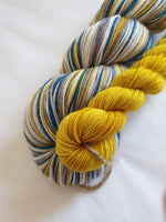 Grellow Cat at Midnight self striping sock yarn with optional 20g mini skein