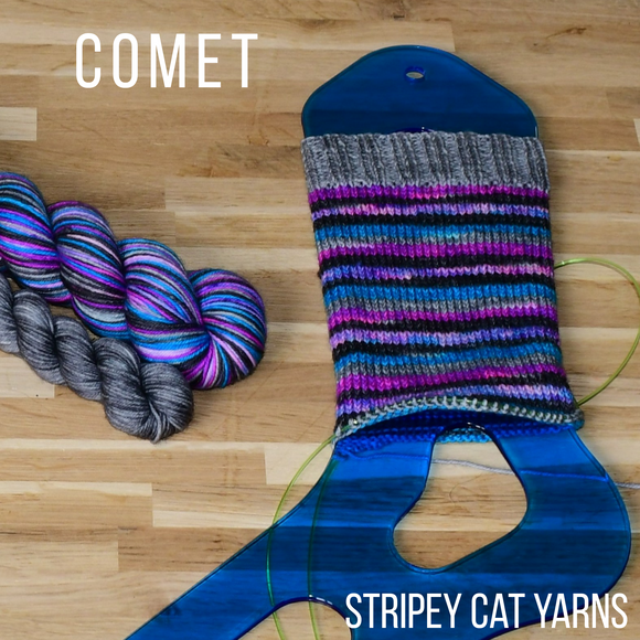 Comet self striping sock yarn with optional 20g mini skein