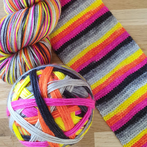 Highlighter self striping sock yarn with optional 20g mini skein
