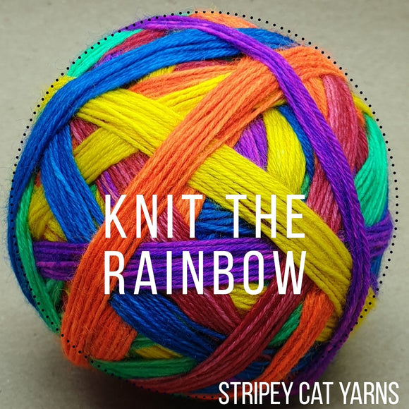 Knit the Rainbow self striping sock yarn with optional 20g mini skein