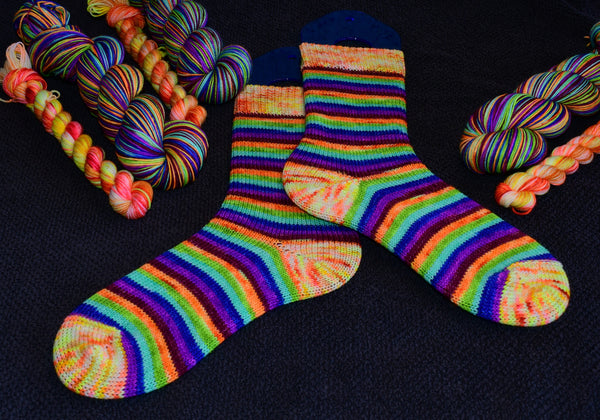Sunshine & Rainbow's - self striping sock yarn with 20g mini skein