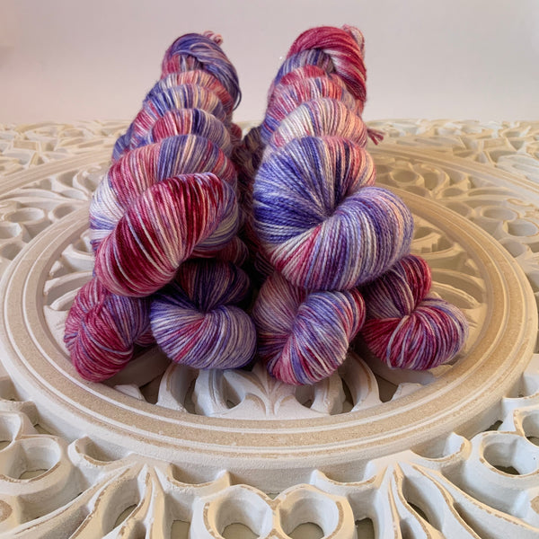 Roses are Red, Violets are Blue Speckled Sock Set with 20g Mini Skein