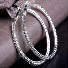 "Load image into Gallery viewer, ""Electric Circle "" Silver Crystal Hoop Earrings"