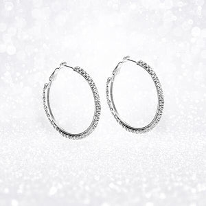 """Electric Circle "" Silver Crystal Hoop Earrings"