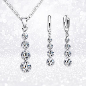 """Classic Sparkle"" Crystal Necklace & Earrings Set"