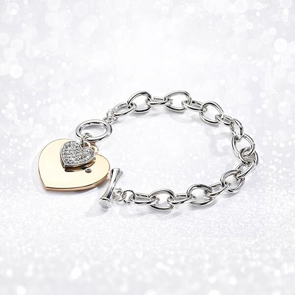 Gold Heart Charm Chain Bracelet