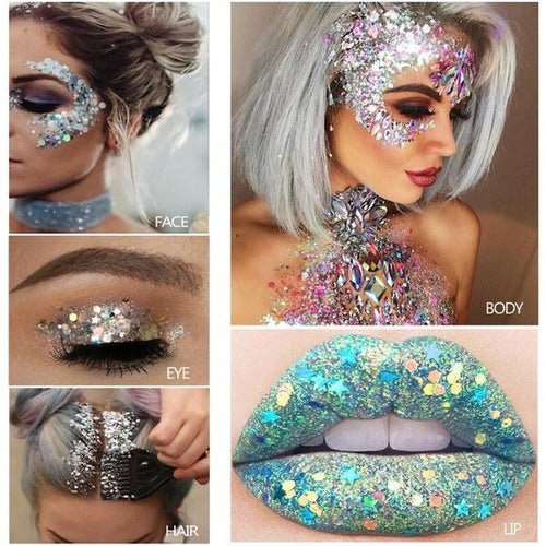 Mermaid liquid glitter eye shadow gel Festival Makeup Shining