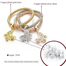 "Load image into Gallery viewer, ""BUTTERFLY"" CHARM BRACELET WITH AUSTRIAN CRYSTALS"