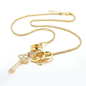 Gold Key - Long Necklace with Austrian Crystals