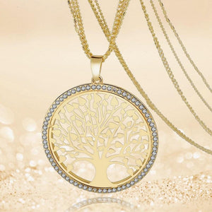 3 Sets of Tree of Life - Pendant Necklace With Rhinestones