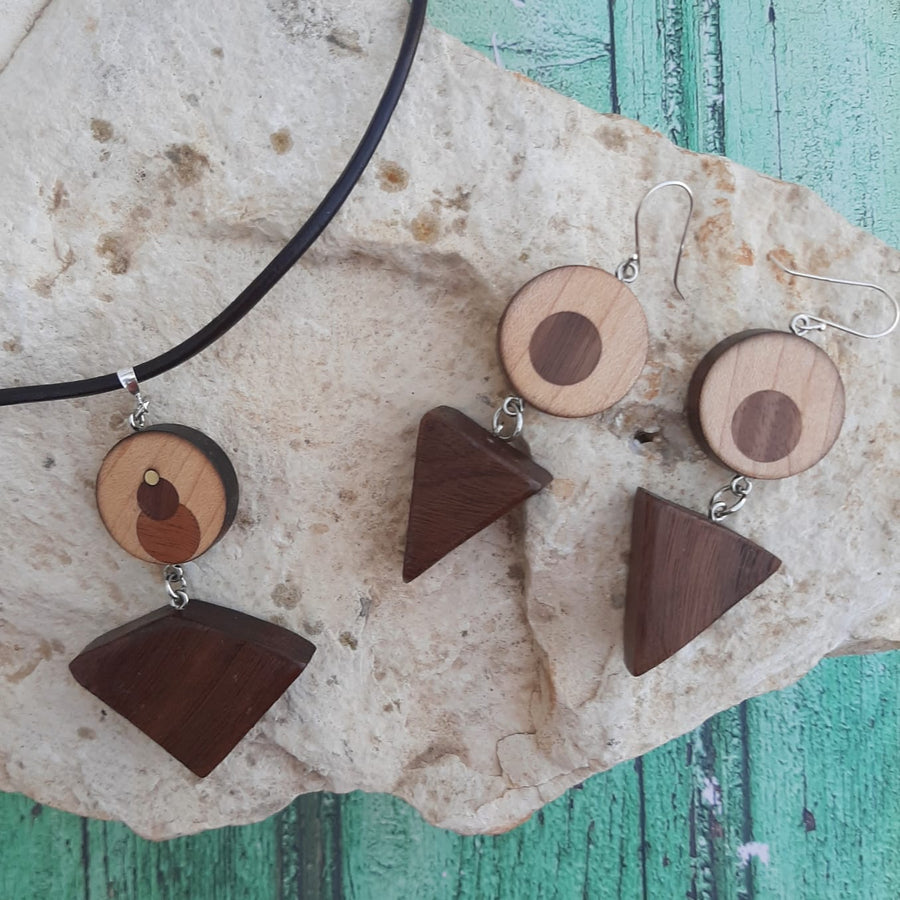 Wooden Geometric Necklace and Earring set Walnut