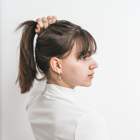 a woman looking to the side