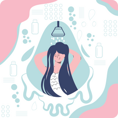 A woman showering, happy, flat style.