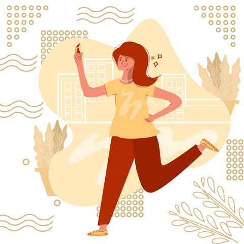 A woman jogging, happy, good hair, flat style.