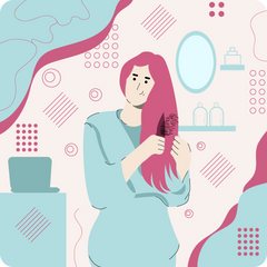 A woman brushing her hair in the bathroom, flat style.