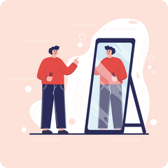Guy holding a comb, looking at himself in the mirror, flat style.