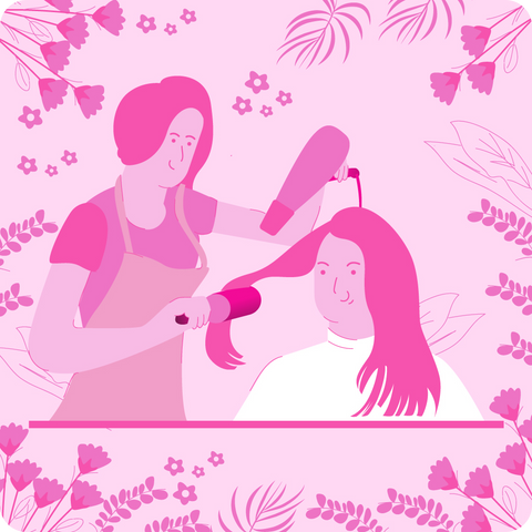 A woman getting her hair styled, at the hairdresser, flat style.