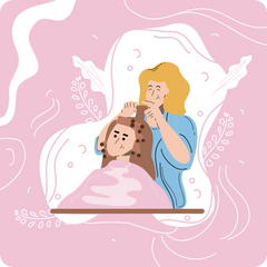 A woman at the hairdresser, barber, using sponge roller, flat style.