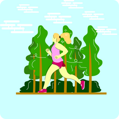 A woman exercising, jogging in a forest with breezing wind, flat style.