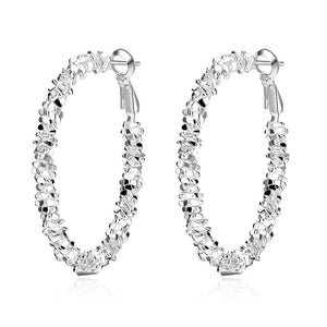 15.99 A Gem Hoop Earring in 18K White Gold Plated Diva Ultd