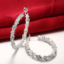 Load image into Gallery viewer, 15.99 A Gem Hoop Earring in 18K White Gold Plated Diva Ultd