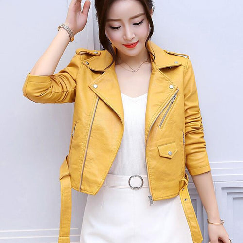 54.36 Faux Soft Leather Jacket Women Fashion Zipper Motorcycle PU Leather Jacket Ladies Basic Street Coat Diva Ultd