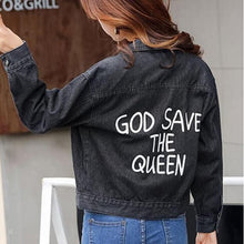 Load image into Gallery viewer, 39.90 God Save The Queen Denim Jacket Diva Ultd