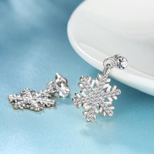 Load image into Gallery viewer, 16.99 Snowflake Drop Earring in 18K White Gold Plated Diva Ultd