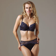 Load image into Gallery viewer, 32.00 Blue Moonlight Lightly Lined Lace Plunge Bra Diva Ultd