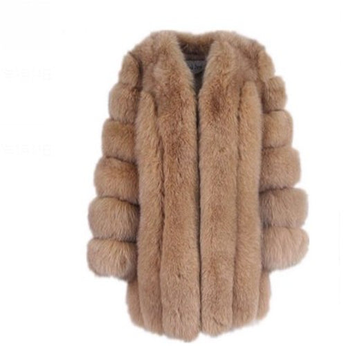 Women Winter Fluffy Faux Fur Coat High Quality Thick Imitated Fox Fur - Free shipping