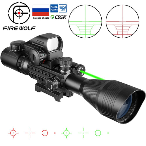 Fire Wolf 4-12x 50mm Scope.  Red/green laser option. - Free Shipping