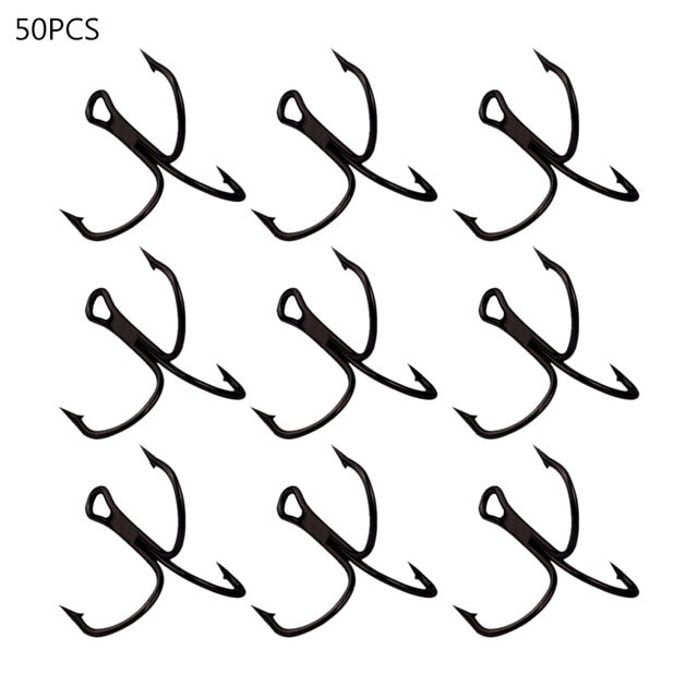 50 Pack of High Carbon Steel Treble Hooks - Free Shipping