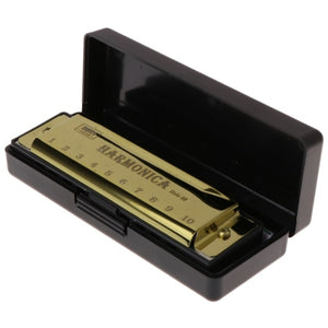 10 Holes Key of C Blues Harmonica Musical Instrument - Free Shipping
