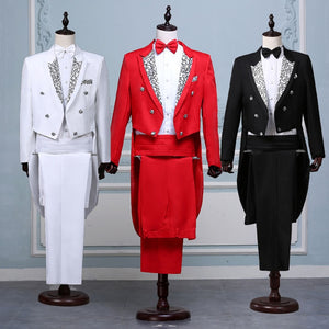 Men White, Black, Red Fancy Tail Coat Suit - Great for stage outfit or anything you need a fancy suit for - Free Shipping