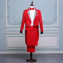 Load image into Gallery viewer, Men White, Black, Red Fancy Tail Coat Suit - Great for stage outfit or anything you need a fancy suit for - Free Shipping