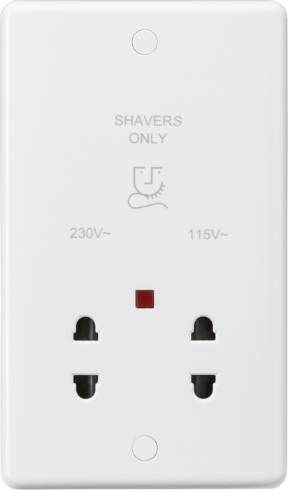 Curved Edge Dual Voltage Shaver Socket with Neon - Toplightco