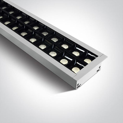 WHITE RECESSED 96pcs SPOTS UGR17 LED 40W CW 1300mm 34d LINEAR 230V DARK LIGHT