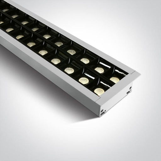 WHITE RECESSED 96pcs SPOTS UGR17 LED 40W WW 1300mm 34d LINEAR 230V DARK LIGHT