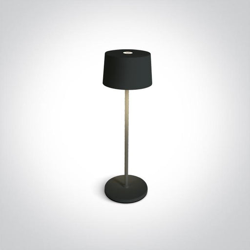 ONE Light Black Led 3,3w Warm White Table Lamp Rechargeable Usb Socket Ip65 Dimmable 5291889063353 61082A/B