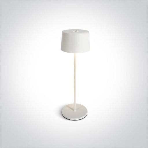 ONE Light White Led 3,3w Warm White Table Lamp Rechargeable Usb Socket Ip65 Dimmable 5291889063346 61082A/W