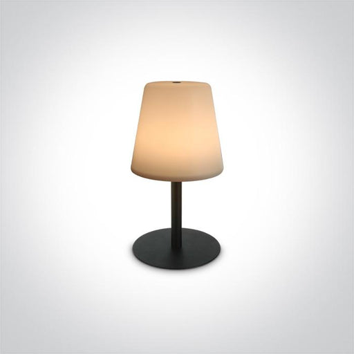 ONE Light Black Led 2w Warm White Table Lamp Rechargeable Usb Ip44 3 Step Dimmable 5291889064374 61084/B