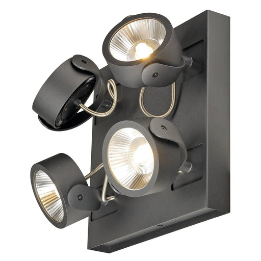 SLV SLV 1000135 KALU LED 4 wall and ceiling light, square, black, 3000K, 60° 4024163177528 1000135