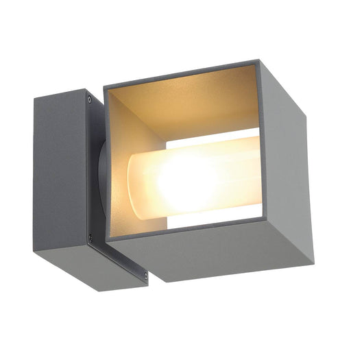 SQUARE TURN, QT14, outdoor wall light, silver-grey, max. 42W, IP44