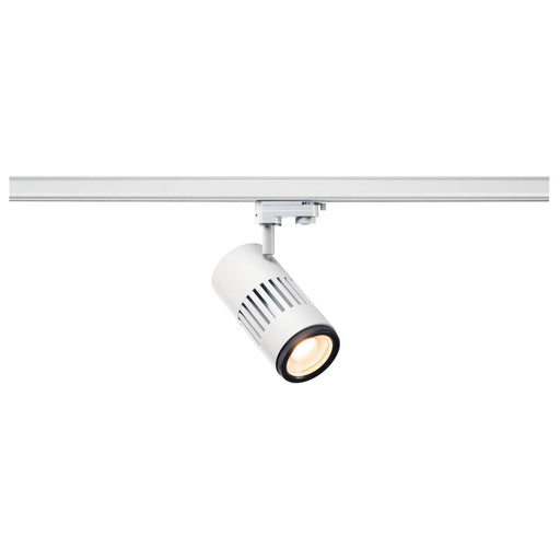 STRUCTEC LED zooming lens spot for 3-circuit 240V track, 3000K, white, 20-60°, incl. 3-circuit adapter