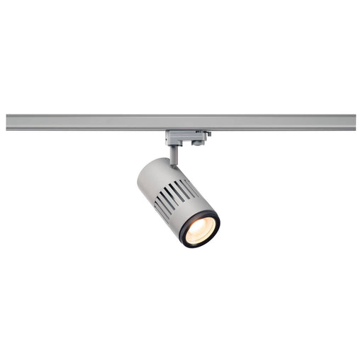 STRUCTEC LED zooming lens spot for 3-circuit 240V track, 3000K, silver-grey, 20-60°, incl. 3-circuit adapter