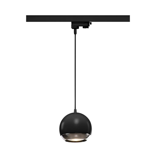 LIGHT EYE 150 ES111 pendant for 3-circuit 240V track, black/chrome, max. 75W, incl. 3-circuit adapter